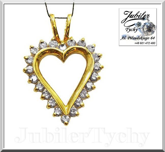 60c5966074c339 Złote duże serce z cyrkoniami waga 3,650 g próba 585 długość razem z  ogniwem 28 mm szerokość 20 mm kolor złota: żółty / wysoki połysk. Cena  699,00 zł *